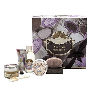 Bath Gift Spa Set, Luxurious 5 Piece Bath & Body Set For Men / Women, Patchouli Lavender Vanilla Scent - Shower oil, Body scrub, Body Lotion & Hand cream in gift Box