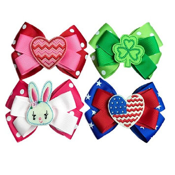 Hair Bows for Girls - Four Seasonal Hair Bows Boutique Grosgrain Ribbon - Clips to Hair- 4th of July-Holiday