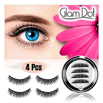 Natural Magnetic Eyelashes (4 Piece/1 Pair) No Glue No Mess - Premium Handmade Dual Magnet False Eye Lashes -Easy To Apply Quality 3D Reusable Full Fake Eyelash Extension Set