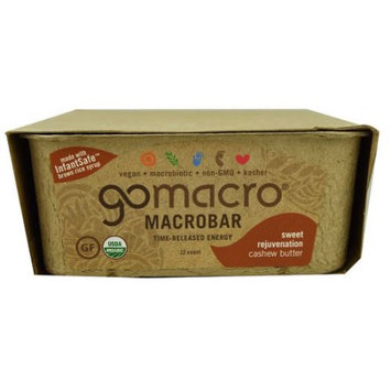 Go Macro Organic Time-Released Energy Bar Cashew Butter 12 Bars - Vegan