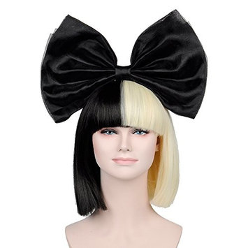 OUO HAIR Fiber Wig High-grade Synthetic Hair Heat Resistant Black Big Bow New Black Mixed Golden