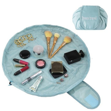 Drawstring Makeup Bag - Portable Cosmetic Organizer - Great for Women and Men or Professionals who Travel - Large Lay Flat - 22in Aqua Blue