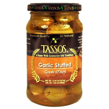 Greek Olives Stuffed with Garlic (Tassos) 13.09 oz