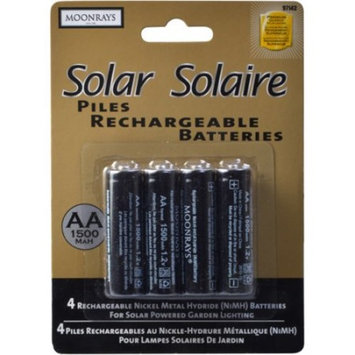Moonrays 97143 4-Pack AA NiMh Pre-Charged Rechargeable Batteries for Solar Lights And Other Solar Powered Yard Decor, 1500mAh Solar Batteries; Energy Saving, Charged By the Power Of The Sun/ Must Charge in Direct S