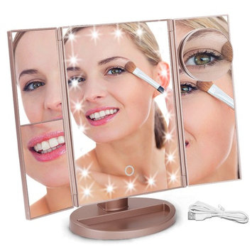 Makeup Mirror,Aiskki 10X/3X/2X/1X Magnification Mirror,180° Adjustable Rotation Vanity Mirror,Trifold Vanity Mirror,22 LED Lights,Touch Screen Adjustment Brightness,Dual Power Supply Cosmetic Mirror