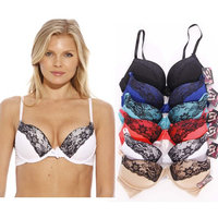 Just Intimates Bras for Women - Petite to Plus Size/ Full Figure (Pack of 6) (Double Push Up - Eye Lash Lace, 38D)