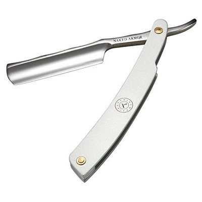 Straight Razor Travel Kit - Stainless Steel Straight Razor, Collapsable Brush For Keeping Everything Clean & Protected. Beautiful Black Leather Case, Light Weight & Made For Travel 10oz