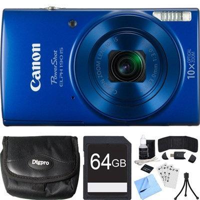 Canon PowerShot ELPH 190 IS Blue Digital Camera w/ 10x Optical Zoom 64GB Card Bundle