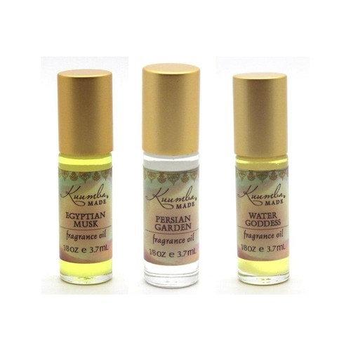 Kuumba Made Fragance Oil Variety Pack (Egyptian Musk, Persian Garden, Water Goddess), 1/8 Ounce