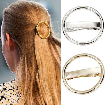 Women's Punk Circle Hairpin Golden Silver Alloy Round Hair Clip Clamp Headwear