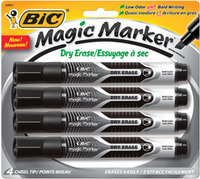 BIC Magic Marker Dry-Erase Markers, Tank Style, Black and Assorted Ink Colors, 4/Pack