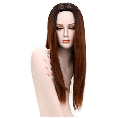 Women Fashion Lady Long Straight Neat Middle Part Hair Cosplay Party Wig