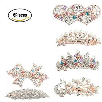 6Pcs Full Drill Hairpin Hair Clip,Vintage Peacock/Heart /Bowknot/leaves/flower Shaped Rhinestone Hair Clip Barrette Accessories for Women Girls