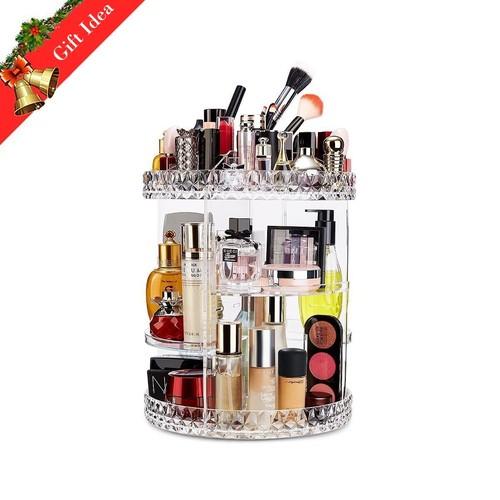 Makeup Organizer 360 Degree Rotating Adjustable Vanity Organizers Bathroom Shelves Countertop Organizer Cosmetic Storage, Crystal Clear