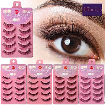 [WALLER PAA] 10pairs Real Mink Natural Thick False Fake Eyelashes Lashes Makeup Extension (H2 Human Hair Eyelashes) : Beauty