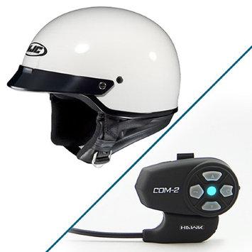 HJC CS-2N White Half Helmet with Hawk COM-2 Bluetooth Intercom Bundle