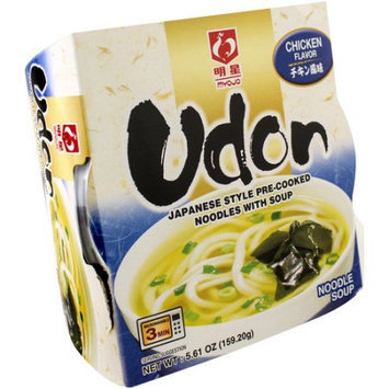 Myojo Udon Chicken Flavor Japanese Style Pre-Cooked Noodles with Soup, 5.61 oz