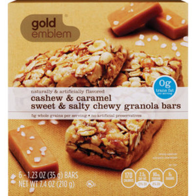 Gold Emblem Cashew and Carmel Sweet and Salty Chewy Granola Bars, 6CT