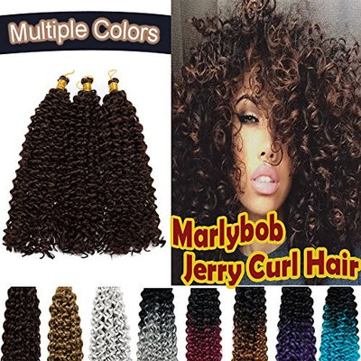 Marlybob Synthetic Crochet Braiding Hair Marlibob Water Wave Twist Crochet Hair Braids Afro Dreadlocks Kinky Curl Hair Bundles for Black Women 3 Packs/lot 270g Black to Medium Brown