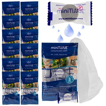 MiniTissue 96ct Wipe Compressed Cotton Expandable 9x10 Inch Travel Towels Sealed To Go