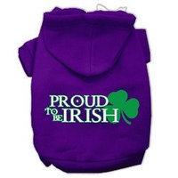 Mirage Pet Products Proud to be Irish Screen Print Pet Hoodies Purple Size XL (16)
