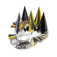 Hoffmaster Group 325026 Decor Party For 10 Wearable Kit Black Gold Silver Pack of 6