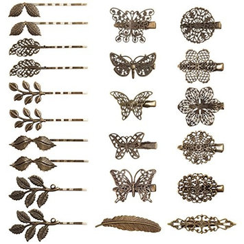 Barrettes for Women Kicosy 22 Pieces Hair Barrettes for Women Hair Clips Vintage Barrettes Bronze Leaf Bobby Pin Flower Butterfly Heart Hair Pins for Girls and Women, Mix Styles