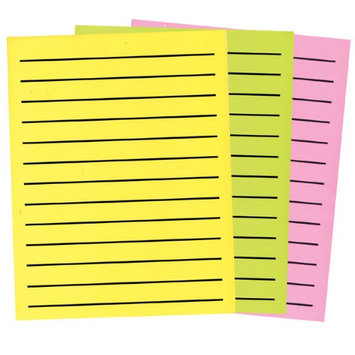 Maxiaids Bold Line Paper in Neon Colors 3-Pad Set- 1 Yellow - 1 Green - 1 Pink