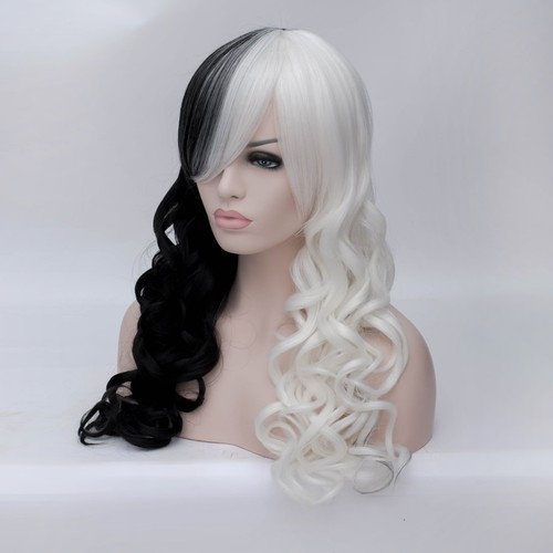 ANOGOL Hair Cap+Black White Hair Wigs Women's Two Tone Wig Long DM-597