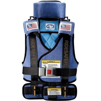 Large RideSafer Travel Vest Deluxe - wearable car seat / booster (50 to 80 lbs. approx 5 to 8 years, Blue)