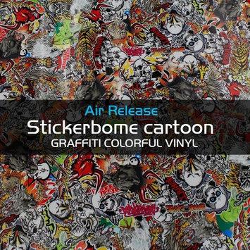Car Elements JDM illest Skull Devil Stickerbomb Vinyl Sheet Self-adhesive Air Free For Trunk Roof Dash Boat Car (8' x 60')