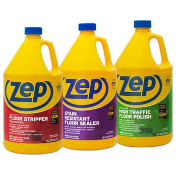 ZEP 128 oz. High-Traffic Floor Polish with Stain-Resistant Floor Sealer 128 oz. and HD Floor Stripper 128 oz. (3-Pack Combo)