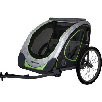 Pacific Cycle Schwinn Zap Double Child Trailer, Gray/Green