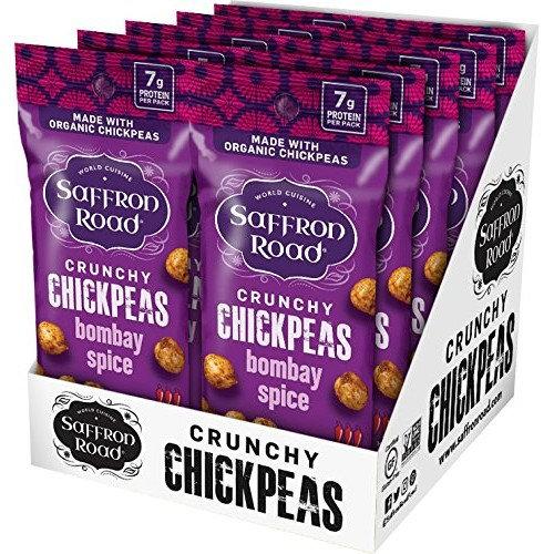 Saffron Road Organic Crunchy Chickpeas, Non-GMO, Gluten-Free, Halal, Bombay Spice 1.25oz [Bombay Spice]