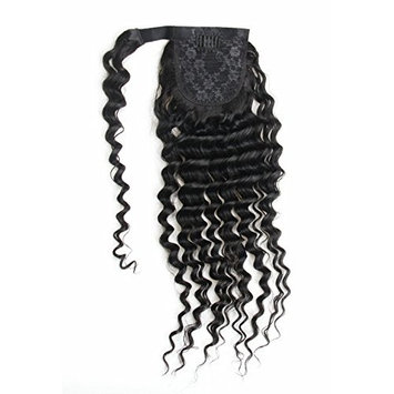 Ms Fenda Hair Raw Remy Virgin Peruvian Human Hair Natural Color Hair Wrap Around Clip in Hair Extensions One Piece Magic Paste Ponytail (16inch, Loose Wave)