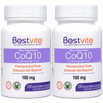 Coenzyme CoQ10 100mg with Bioperine (240 Vegetarian Capsules) (2-Pack) Naturally Fermented - No Stearates - No Fillers - Vegan - Non GMO - Gluten Free