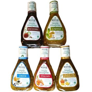 Balsamic, Caesar, Greek, Italian, Olive Oil & Vinegar - Ken's Steakhouse Simply Vinaigrette Salad Dressings - Variety Pack of 5 - 16 Oz Each
