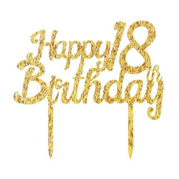 Gold Glitter Acrylic Happy Birthday 18th Cake Toppers,Party decor Decorations(6.2-inch)