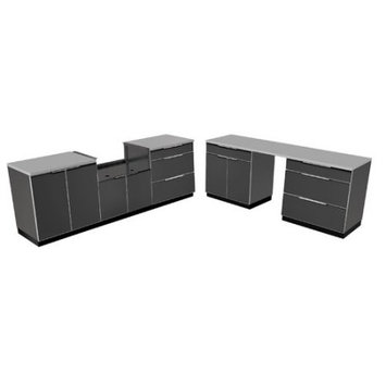 Newage Products Aluminum Slate 9-Piece 184x36x24 in. Outdoor Kitchen Cabinet Set with Covers