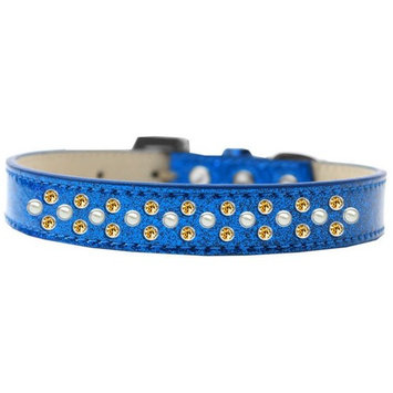 Mirage 616-22 BL-16 Sprinkles Ice Cream Dog Collar Pearl/Yellow Crystals Blue 16
