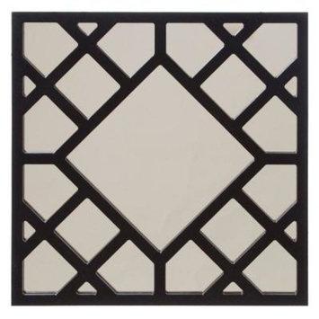 24 in. x 24 in. Glossy Black Cutwork Framed Mirror
