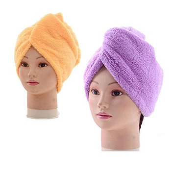 3Pack Dry Hair Towels,YUNGUI Fast Drying Absorbent Microfiber Hair Turban Wrap Quick Magic Dryer Shower Hat with Buttons for Bath Spa