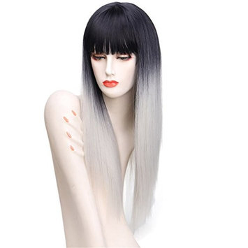 VIMIKID 28 inches Silky Long Straight Wig Heat Resistant Synthetic Wig With Bangs Human Hair Party Cosplay Wig(black&silver gray)
