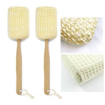 Alltopbargains 2 Natural Sisal Fiber Back Brush Loofah Scrubber Spa Shower Sponge Long Handle
