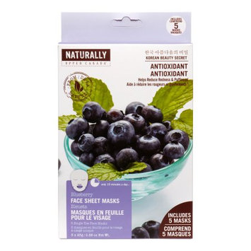 Upper Canada Soap Naturally Sheet Mask, Blueberry, 5 Ct