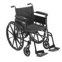 Drive Medical Cruiser X4 Lightweight Dual Axle Wheelchair with Adjustable Detachable Arms, Full Arms, Swing Away Footrests, 20