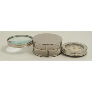 Bey-berk Paper Weight w/ Compass & Magnifier, Chrome Plated, D721