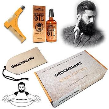 Groomarang Mens Beard Styling & Shaping Comb, Oil, Trimmer Catcher Man Groomer Gift Box Set