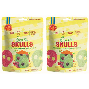 Candy People Sour Skulls Sour Fruit Flavored Swedish Gummy Candy 4 Ounce (Pack of 2) – Non-GMO, Gluten-Free and Gelatin-Free