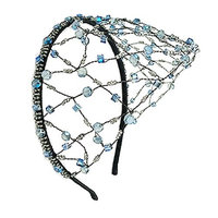 LUCKYOON Elegant Crystal Bead Leaf Net Hair Hoop Comb Headbands Women Girls Accessory Jewelry